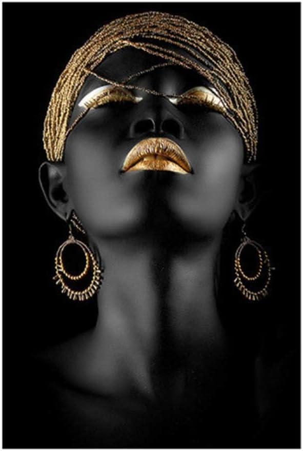 Cuadro en lienzo Mujer africana negra Pintura sobre lienzo Carteles Arte de la pared Imagen para sala de estar 60x90cm Con marco Dorado