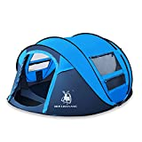 HUI LINGYANG Outdoor Instant 4-Person Pop Up Dome Tent – Easy, Automatic Setup -Ideal Shelter for Casual Family Camping Hiking, Blue Review