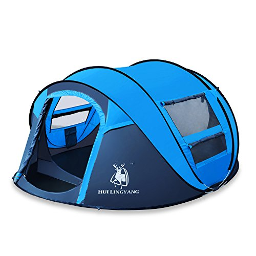 HUI LINGYANG Outdoor Instant 4-Person Pop Up Dome Tent - Easy, Automatic Setup -Ideal Shelter for Casual Family Camping Hiking, Blue
