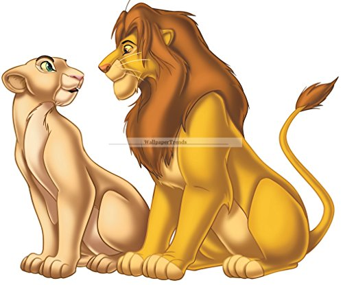 "10"" Simba Nala Disney The Lion King Movie Animal Cub Removable Peel Self Stick Adhesive Vinyl Decorative Wall Decal Sticker Art Kids Room Home Decor Girl Boy Children Bedroom 10 x 8 1/4 inch tall"