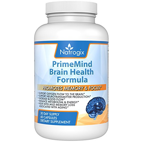 PRIME MIND Memory & Focus Support, Natural Eleuthero Root, Ginkgo Biloba Leaves & Bacopa Monnieri Ingredients optimize Brain Function, Increased Memory Retention, Help Anti Aging, 60 Capsules.