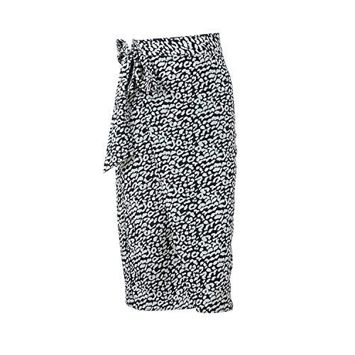 Belted High Waist Split Wrap Skirt Midi Skirts Animal Print Sexy Leopard Long Skirt,Black,L Belted Animal Print Skirt