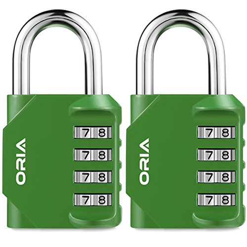 ORIA Combination Lock, 4 Digit Combination Padlock Set, Safety for School, Employee, Gym or Sports Locker, Case, Toolbox, Fence, Hasp Cabinet and Storage, Green and 2 Pack by ORIA