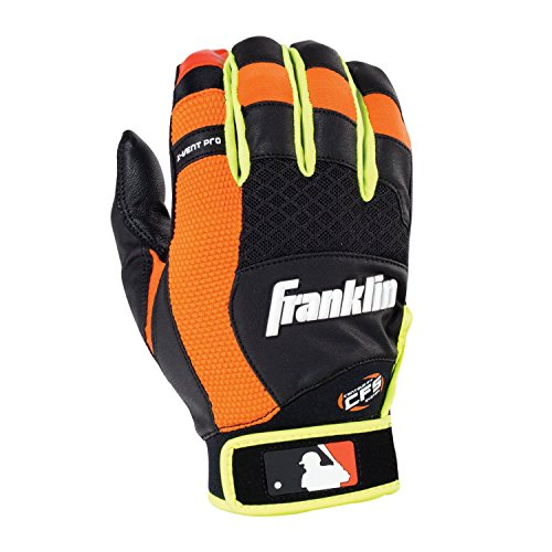 - Franklin Sports Adult MLB X-Vent Pro Batting Gloves, Adult Medium, Pair, Black/Neon Orange/Optic Yellow