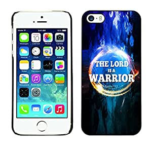 DREAMCASE Bible Quotes Hard Bumper Back Protection Case Cover For Apple IPHONE 5 / 5S - THE LORD IS A WARRIOR - EXODUS 15:3