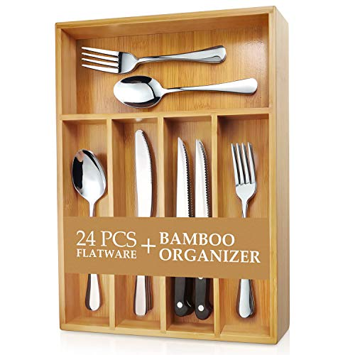 Teivio 24-Piece Silverware Set, Flatware Set Mirror Polished, Dishwasher Safe Service for 4, Include Knife/Fork/Spoon with Bamboo 5-Compartment Silverware Drawer Organizer Box (Silverware Set Small)