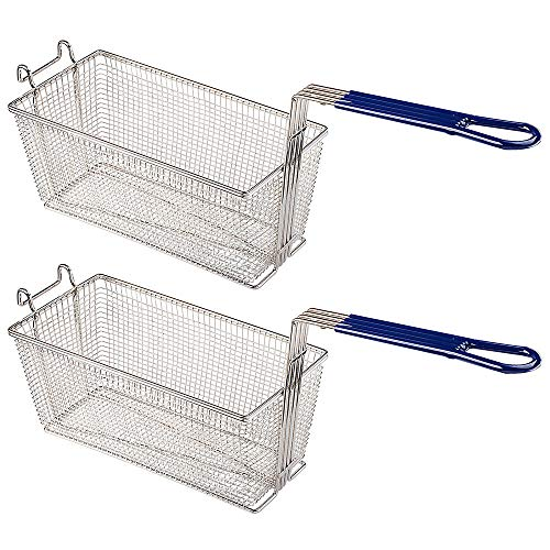 2PCS Deep Fryer Basket With Non-Slip Handle Heavy Duty Nickel Plated Iron Construction 13