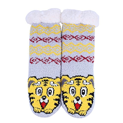 Animal Highs Cartoon Warm Stockings Fuzzy Non Socks Kokkn Tiger Knee Slip Womens Slipper Uf4Sq0