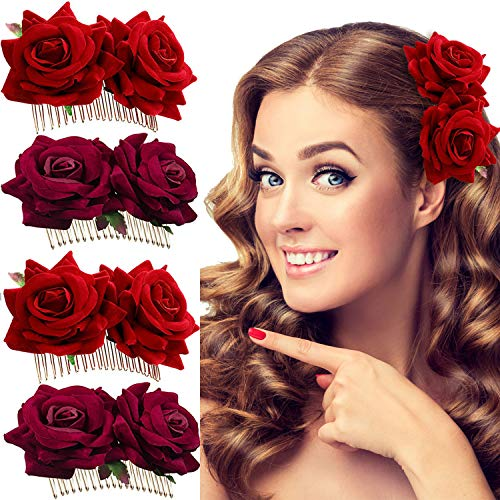 Trounistro 4 Pieces Rose Flower Hair Clip Rose Hair Clip Flower Hairpin Rose Hair comb Bridal Hair Clips Flamenco Dancer Hair Combs Hair Accessory ()