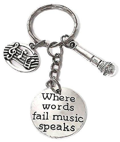 Microphone keychian, Music Keychain, Musical Note Keychain, Microphone Key Ring, Music Key Ring, Music Microphone Voice Charm Keychain