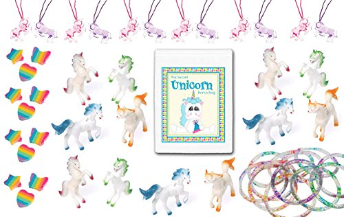 48 Piece Unicorn Theme Birthday Party Favor Bundle Pack for 12 Kids (12 Unicorn Figures, 12 Necklaces, 12 Glitter Bracelets, 12 Rainbow Erasers)