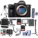 Sony a7R III Mirrorless Digital Camera Body - Bundle with Camera Bag, 64/32GB SDHC U3 Cards, Tripod, Shotgun Mic, Monopod, Spare Battery, Video Light, Wireless Remote Shutter, Software Pack and More