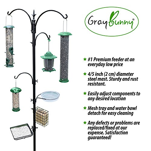 GrayBunny-GB-6844D-Deluxe-Premium-Bird-Feeding-Station-Kit-22-Wide-x-91-Tall-82-above-ground-height-3-Prong-Base-A-Multi-Feeder-Hanging-Kit-and-Bird-Bath-For-Attracting-Wild-Birds-Stand-Hook
