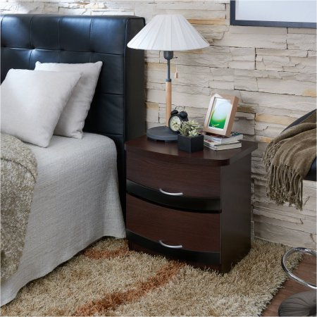 Pine Tall Dresser (Furniture of America Maxie Modern Curved 2-Drawer Nightstand - Espresso and)
