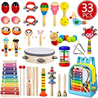 Toddler Musical Instruments, 33 PCS 19 Types Wooden Percussion Instruments Toys for Baby Kids Preschool Education, Early...