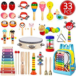 AOKIWO Kids Musical Instruments, 33 PCS 20 Types Wooden Instruments Tambourine Xylophone Toys for Kids Children, Preschool Educational Learning Musical Toys for Boys Girls with Storage Baakpack