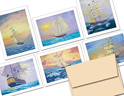 Sailing Ships Notecard Set - 36 Note Cards - 6 Designs - Blank Cards - Off-White Ivory Envelopes Included (Note Sailing)