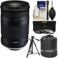 Tamron 18-400mm f/3.5-6.3 Di II VC HLD Zoom Lens with 3 UV/CPL/ND8 Filters + Tripod + Pouch Kit for Canon EOS DSLR Cameras