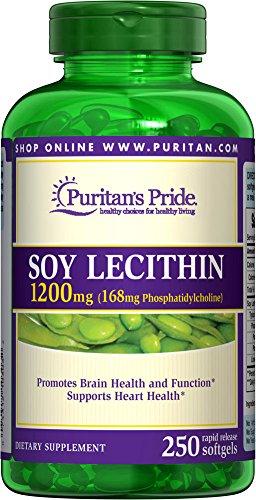 Puritan's Pride Soy Lecithin 1200 mg-250 Rapid Release (Grain 250 Softgels)