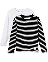 Kids 2 Pack Solid and Stripe Long Sleeve Crew Neck T-Shirts