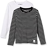 Kid Nation Kids 2 Pack Solid and Stripe Long Sleeve Crew Neck T-Shirts XL White + White/Black