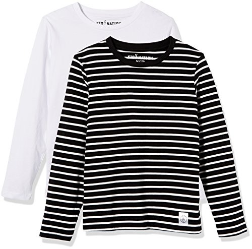 Kid Nation Kids' 2-Pack 100% Cotton Tag-Free Long Sleeve Crewneck T-Shirt Top for Boys or Girls XL White + White/Black -