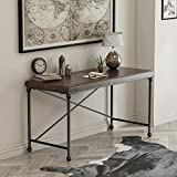 55'' Writing Computer Desk Modern Simple Study Desk Industrial Style Laptop Table for Home Office Brown Notebook Desk