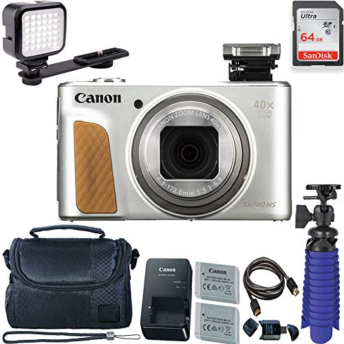 Canon PowerShot SX740 HS Digital Camera (Silver) with 64 GB Card + LED Compact On-Camera Light + Premium Camera Case + 2 Batteries + Tripod