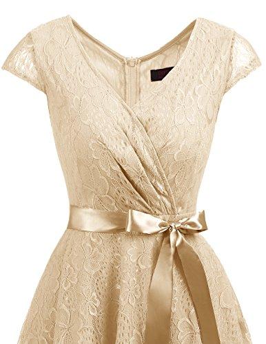 Robe d'honneur Manches Cocktail Dresstells Forme de V Demoiselle col Robe en de Champagne Soire de Courtes Empire Dentelle q8wpfr8X