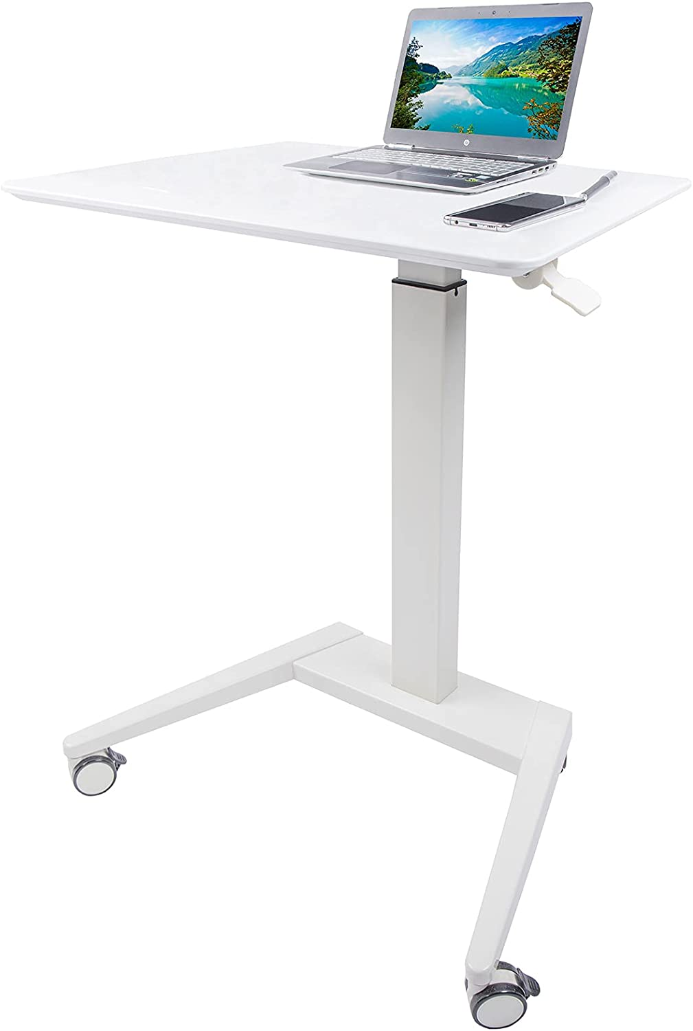 MEGAMILLION Mobile Laptop Standing Desk- Pneumatic Height Adjustable Sit Stand Laptop Rolling Cart, Multifunctional Mobile Podium, Portable Sit Stand Lectern for Classrooms, Offices, and Home