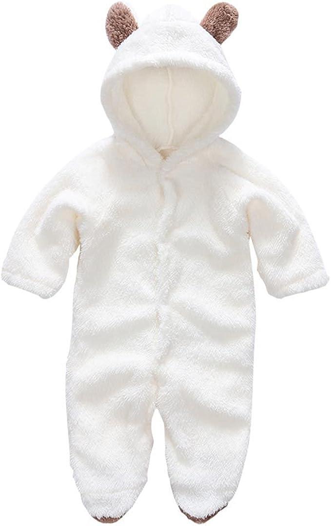 Newborn Kids Baby Girl Boy Fleece Romper Bodysuit Jumpsuit Warm Outfits Clothes