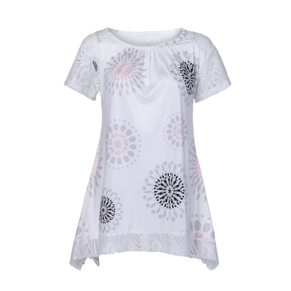MEEYA Summer Women Tops Short Sleeve Round Neck Lace Summer Short Sleeve Gridding Lace Floral Print Shirt Blouse Tops