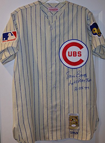 Autographed Ernie Banks Jersey - Lets Play Two HOF 77 Mitchell Ness 1969 - JSA Certified - Autographed MLB (Ernie Banks Autographed Jersey)