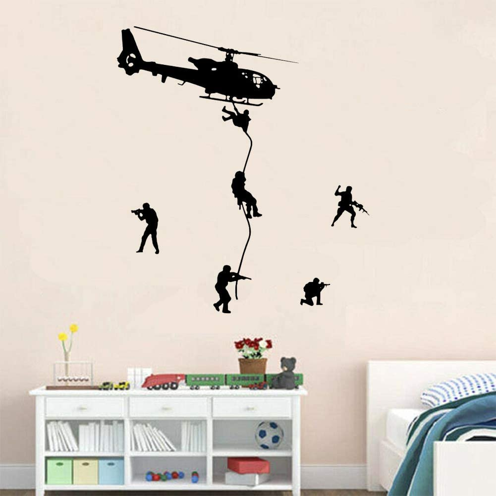 Helicopter Army Soldiers Special Forces Wall Decals DIY Soldiers Landing from Aircraft Creative Art Wall Stickers of Cool Art Mural for Kids Boys, Soldier Military Silhouette Vinyl Decal