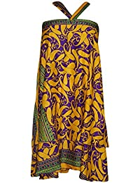 Womens Magic Wrap Beach Skirt Yellow Reversible Layer Recycled Silk