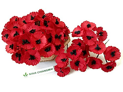 NAVA CHIANGMAI 50 pcs Red Poppy Mulberry Paper Flower 20-25 mm Scrapbooking Wedding Doll House Supplies Card Artificial Mulberry Paper Flower Wedding Scrapbook Decorations, Greeting Cards