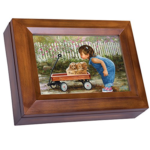 Cottage Garden Little Girl Free Puppies Red Wagon Wood Finish Jewelry Music Box - Plays Tune You are My Sunshine (Puppy Musical Jewelry Box)
