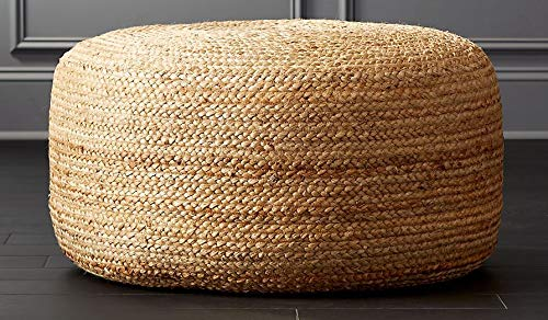 PRINTSHOPPIE Decor Jute Pouf| Ottoman| footrest (Jute Pouf) Sitting Round Ottoman Bean Filled(60X60X30) 1