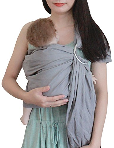 Linen Sling - Vlokup Ring Sling Baby Carrier Wrap | Luxury Linen and Cotton Baby Slings for Newborn, Infant, Toddlers, and Kids | Adjustable Metal Aluminum Rings, Lightweight Breathable, Great Shower Gift, Grey