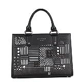 Roxbury Black Laser Cut Studded Tote Bag