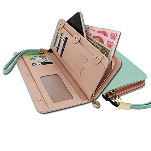 KQueenStar Women Lady Leather Wallet Purse Credit Card Clutch Holder Case(Green with Wrist Strap) by KQueenStar (Image #2)