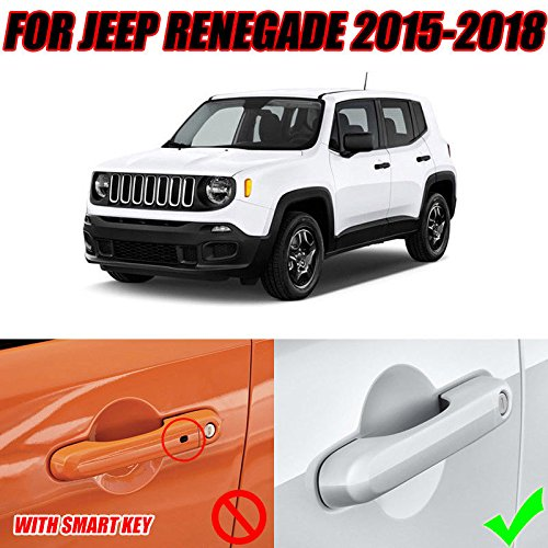 UltaPlay 8pcs Car Side Door Handle Catch Chrome Covers Trims Overlays Bezel For Jeep Renegade 2017 Car Exterior Accessories Styling