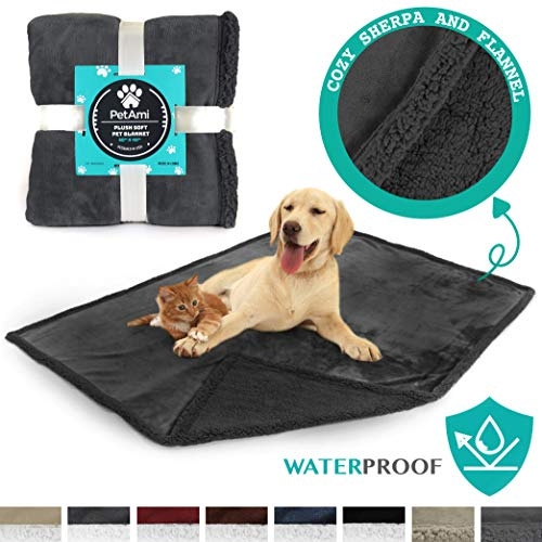 PetAmi Waterproof Dog Blanket for Couch, Sofa | Grey Waterproof Sherpa Pet Blanket for Large Dogs, Puppies | Super Soft Washable Microfiber Fleece | Reversible Design | 50 x 40 (Gray/Gray)