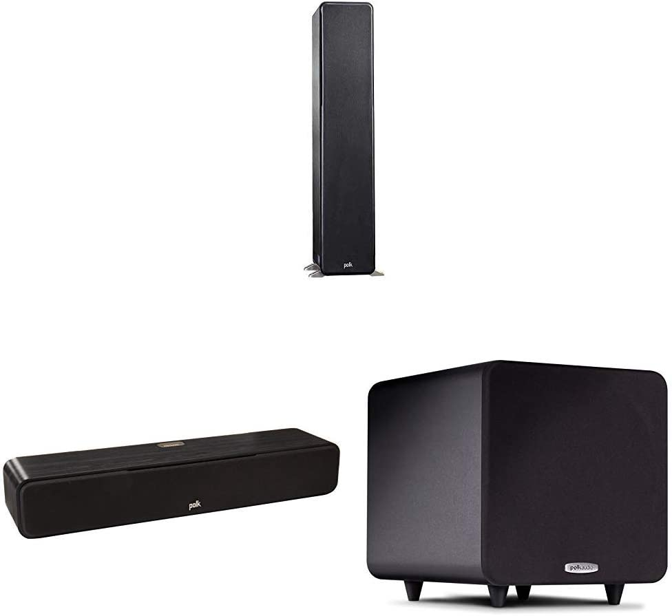Polk Audio Signature Series 3.1 Channel Home Theater System with Powered Subwoofer | Two (2) S50 Tower Speakers, One (1) S30 Center Channel, PSW111 Sub | PowerPort Technology