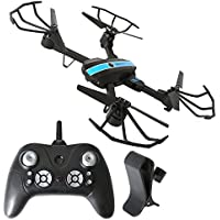 2.4GHz Six Gyro Foldable Drone FYD-FPV WIFI Real-Time Video Remote Controlled Rechargeable Quadcopter Pocket Aircraft with HD Camera (Black and Blue-720P-FQ24)