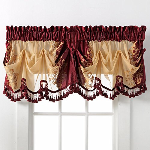 Danbury Embroidered Window Treatments By GoodGram® - Assorted Colors And Sizes (Burgundy, Single Valance)