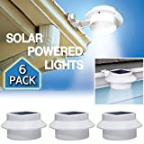 6 Pack Deal - Outdoor Solar Gutter LED Lights - White Sun Power Smart LED Solar Gutter Night Utility Security Light for Indoor Outdoor Permanent or Portable for Any House, Fence, Garden, Garage, Shed, Walkways, Stairs - Anywhere Safety Lite.