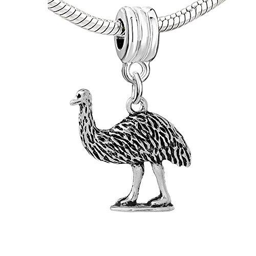 Ostrich Bird Charm - SEXY SPARKLES Ostrich Bird Charm Bead for Snake Chain Charm Bracelet
