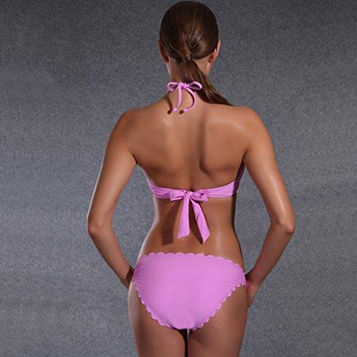 SHISHANG Sra pantalones divididas bikini traje de Europa y Estados Unidos se reúnen traje de baño de aguas termales de alta elasticidad Violet