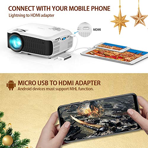 db28b1d2 Amazon.com: Movie Projector, DBPOWER 2019 Newest 120 ANSI LCD Video  Projector Free HDMI 176